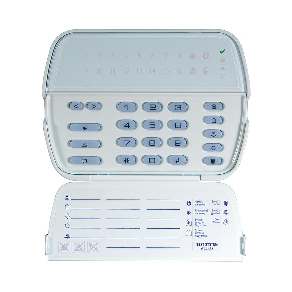 16 LED-es kezelő, új sorozat, POWER központokhoz, PGM kimenet / zóna bemenet, AC kijelzés