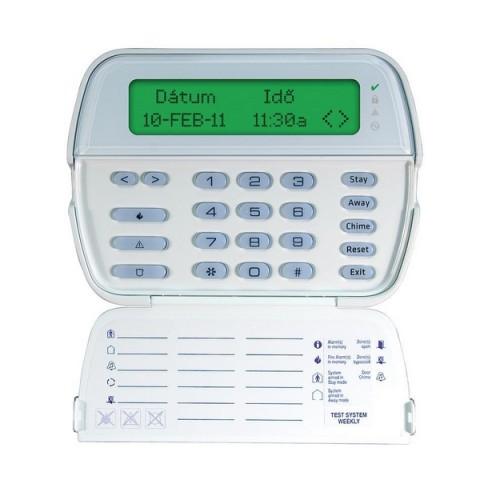 2 utas vezeték nélküli, magyar nyelvű szöveges LCD kezelő, 2x16 karakteres kijelző, 5 funkciógomb, 3 forró gomb, beépített proximity olvasóval (Alexor központhoz)